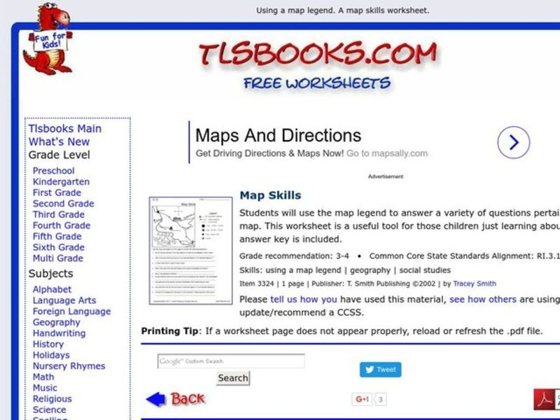 map skills worksheet for 7th 8th grade lesson planet. Black Bedroom Furniture Sets. Home Design Ideas