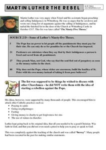 Martin Luther the Rebel Worksheet
