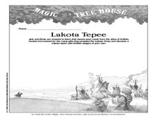 Magic Tree House Series- Lakota Tepee Worksheet