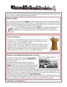 Causes of the French Revolution (2) Worksheet