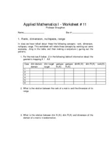 Linear Algebra Worksheet