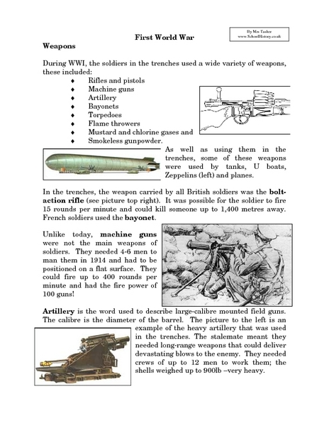 First World War Weapons Worksheet For 7th 9th Grade