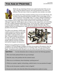 The Age of Printing Worksheet