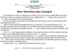 """How Television Has Changed"" Worksheet"