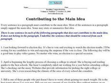 Contributing to the Main Idea Worksheet