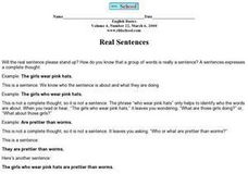Real Sentences Worksheet