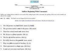 Suffixes Beginning with Consonants Worksheet