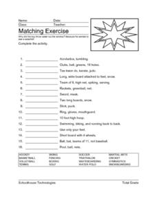 Matching Exercise Worksheet