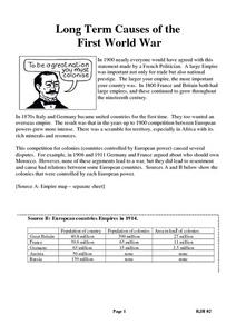 Long Term Causes of the First World War Worksheet