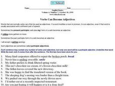 Verbs Can Become Adjectives Worksheet