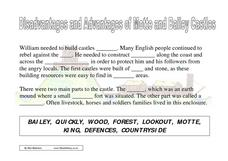 Disadvantages and Advantages of Motte and Bailey Castles Worksheet