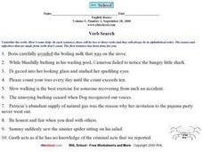 Verb Search Worksheet