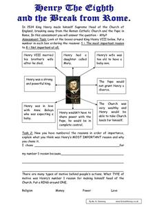 Henry the VIII And the Break From Rome Worksheet