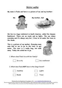 Water Walks Worksheet