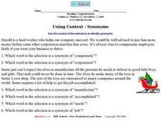 Using Context - Synonyms Worksheet