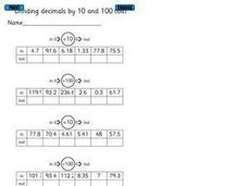 Dividing Decimals by 10 and 100 Worksheet