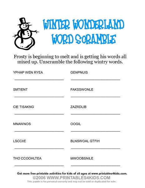 winter wonderland word scramble worksheet for 3rd 5th grade lesson planet. Black Bedroom Furniture Sets. Home Design Ideas