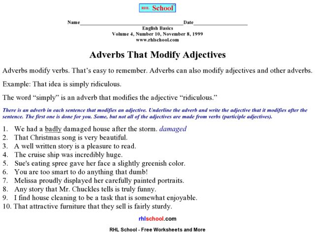 Adverbs Modifying Adjectives Lesson Plans Worksheets