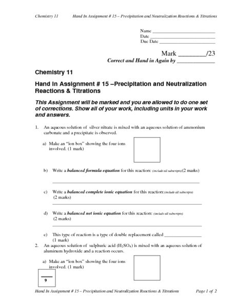 Neutralization Reactions Lesson Plans Worksheets