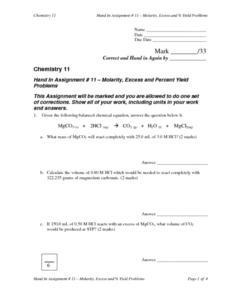 Molarity, Excess and Percent Yield Lesson Plan