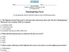Thanksgiving Facts Worksheet