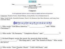 Composers Worksheet