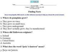 Finding Facts Worksheet