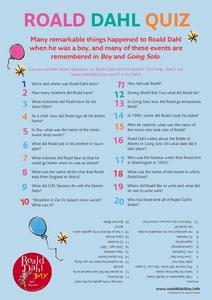 Roald Dahl Quiz Worksheet for 4th - 5th Grade | Lesson Planet