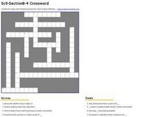 Smoking Dangers Crossword Worksheet