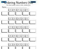Ordering Four Digit Numbers Smallest to Largest Worksheet