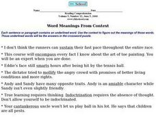 Word Meanings From Context Volume 5, Number 32 Worksheet