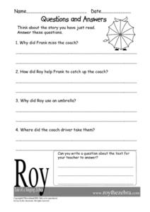 Roy, Tale of a Singing Zebra- Questions and Answers Worksheet