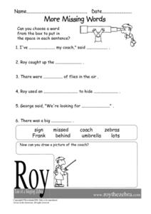More Missing Words- Fill in the Blanks Worksheet