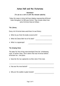 Aston Hall and the Victorians Worksheet