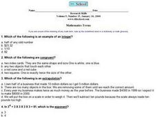 Math Terms- Congruent, Integer, Extrapolation, Exponent Worksheet