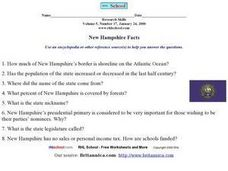 New Hampshire Research Worksheet Worksheet