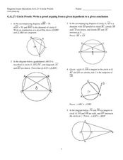 Circle Proofs Worksheet