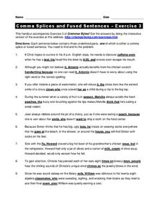 Comma Splices and Fused Sentences Worksheet