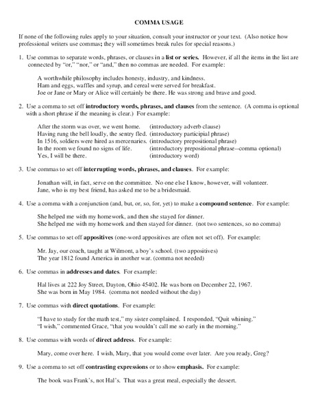 Comma Usage Worksheet For 8th 10th Grade Lesson Planet