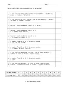 Probability as a Decimal Worksheet