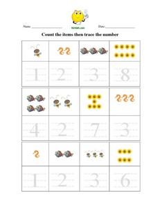 Count the Items Then Trace the Number Worksheet