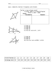 Identify Similar Triangles With Proofs Worksheet