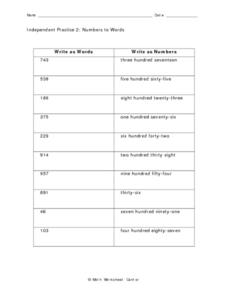 Independent Practice 2:  Numbers to Words Worksheet