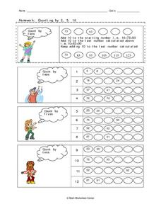 Homework:  Counting by Two, Five and Ten Worksheet