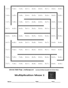 multiplication maze 2 johnnie 39 s math page worksheet for 4th 5th grade lesson planet. Black Bedroom Furniture Sets. Home Design Ideas