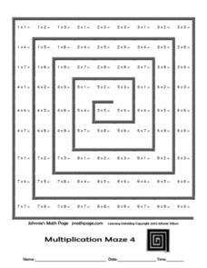 Multiplication Maze 4 - Johnnie's Math Page Worksheet