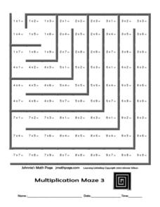 Multiplication Maze 3 Worksheet