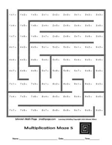 Multiplication Maze 5 Worksheet