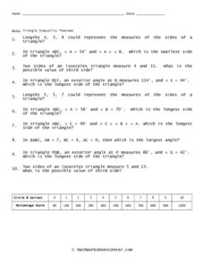 Quiz: Triangle Inequality Theorem Worksheet for 7th - 8th Grade ...