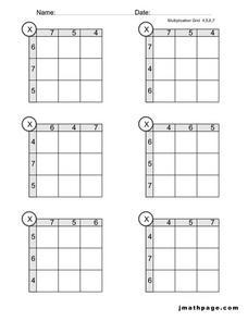 Multiplication Grid 4,5,6,7 Worksheet